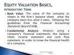 equity valuation basics introductory terms1