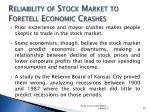reliability of stock market to foretell economic crashes