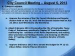 city council meeting august 6 20131