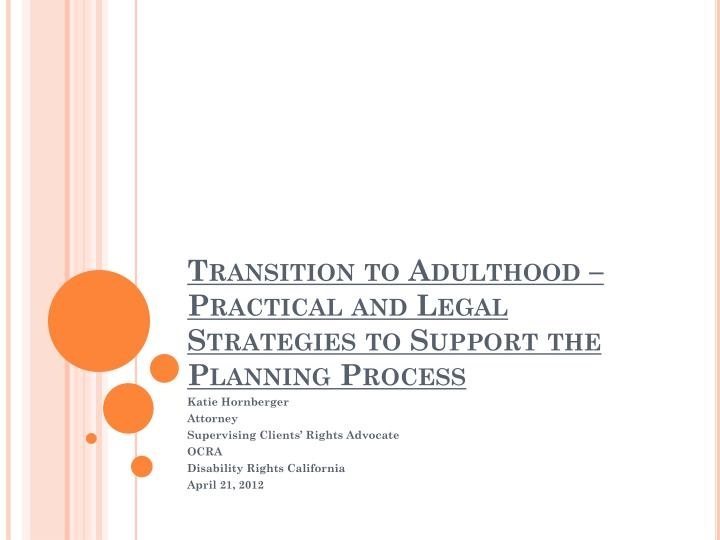 transition to adulthood practical and legal strategies to support the planning process n.