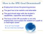 how is the ipe goal determined