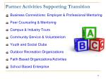 partner activities supporting transition