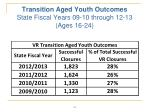 transition aged youth outcomes state fiscal years 09 10 through 12 13 ages 16 24