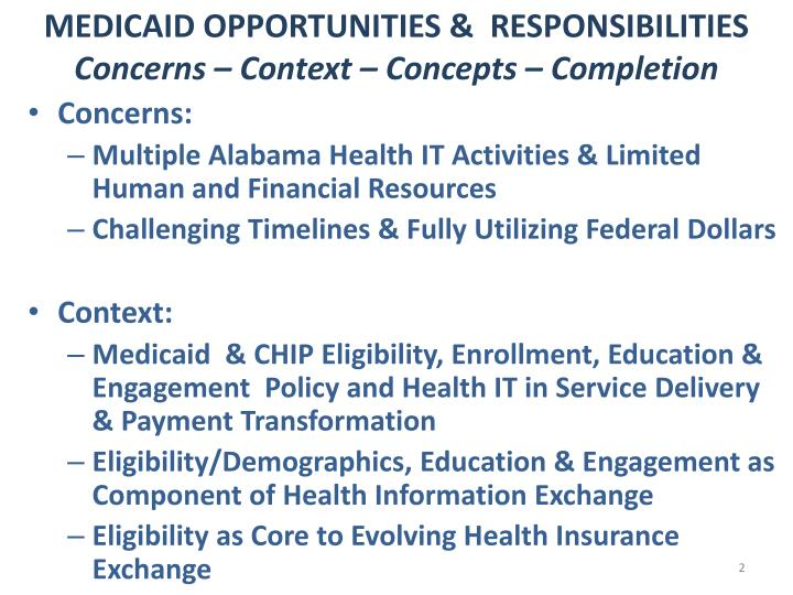 Medicaid opportunities responsibilities concerns context concepts completion