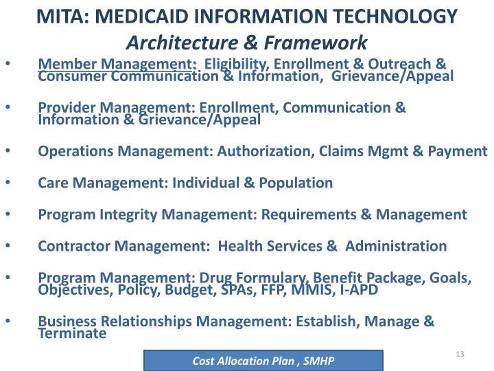 MITA: MEDICAID INFORMATION TECHNOLOGY