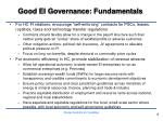 good ei governance fundamentals