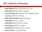 2013 board of directors