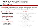 ahia 32 nd annual conference supporters