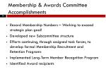 membership awards committee accomplishments