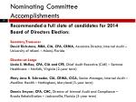 nominating committee accomplishments