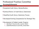 professional practices committee accomplishments