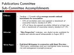 publications committee sub committee accomplishments