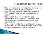 questions to the panel