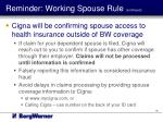 reminder working spouse rule continued