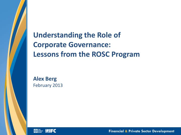 understanding the role of corporate governance lessons from the rosc program n.