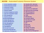 access automated customs clearance system