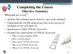 completing the course objective summary