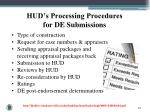 hud s processing procedures for de submissions