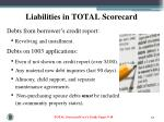 liabilities in total scorecard