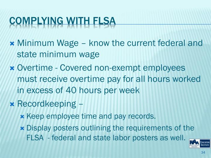 Minimum Wage – know the current federal and state minimum wage