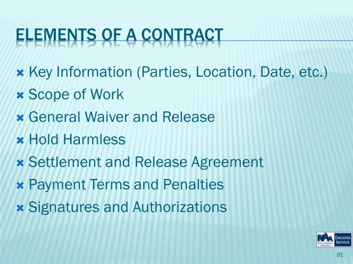 Key Information (Parties, Location, Date, etc.)