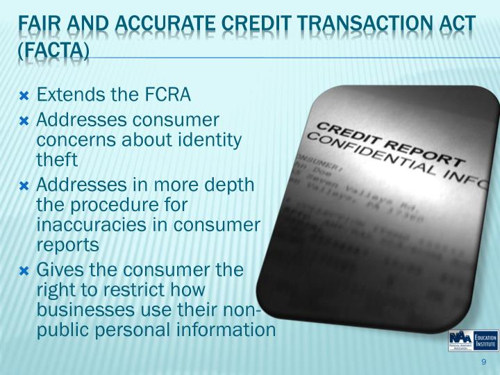 Extends the FCRA