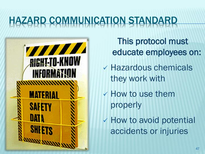 This protocol must educate employees on: