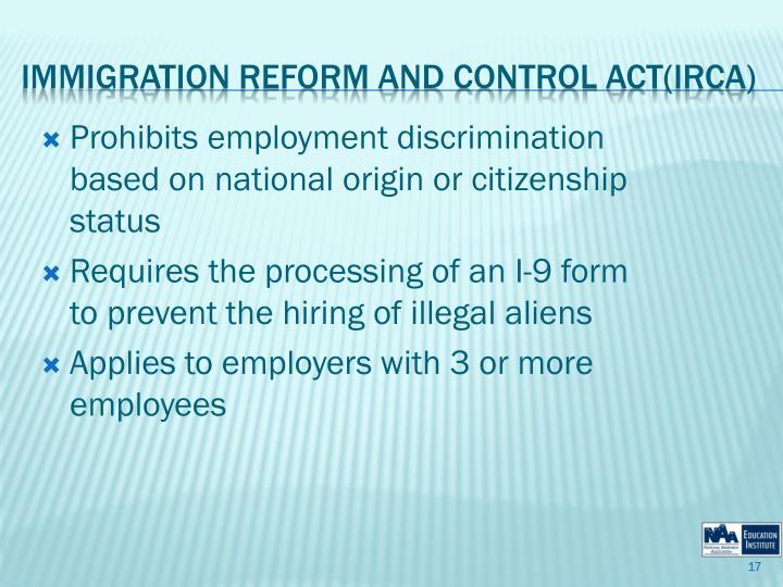 Prohibits employment discrimination based on national origin or citizenship status