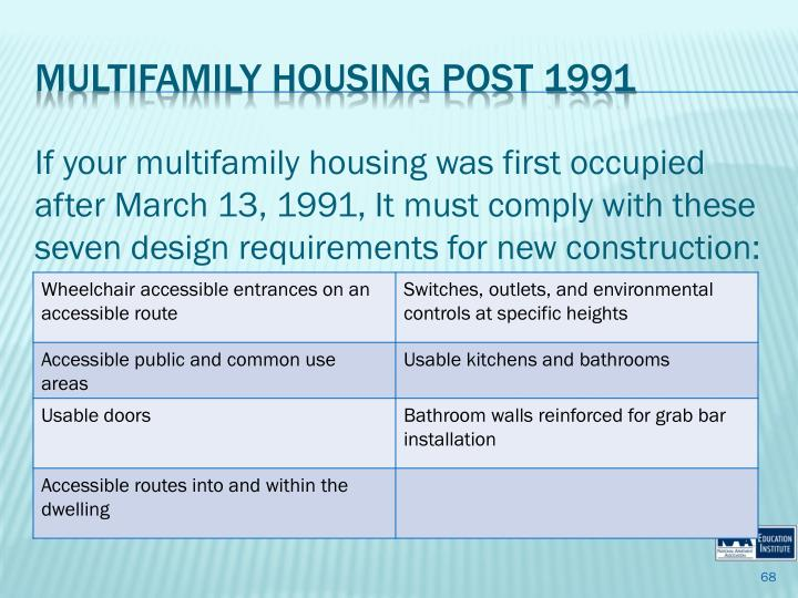 If your multifamily housing was first occupied after March 13, 1991, It must comply with these seven design requirements for new construction: