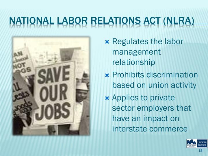 Regulates the labor management relationship