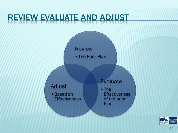Review Evaluate and Adjust