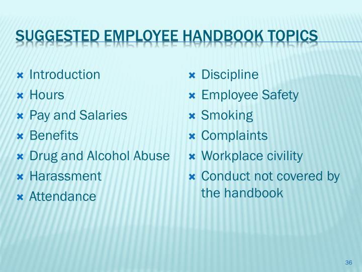 Suggested Employee Handbook Topics