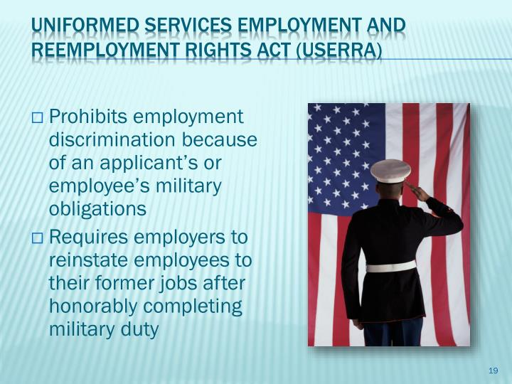 Prohibits employment discrimination because of an applicant's or employee's military obligations