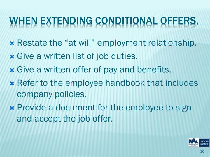 """Restate the """"at will"""" employment relationship."""