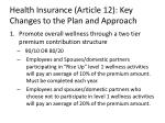 health insurance article 12 key changes to the plan and approach