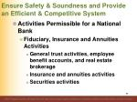 ensure safety soundness and provide an efficient competitive system19