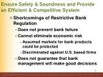 ensure safety soundness and provide an efficient competitive system22