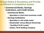 ensure safety soundness and provide an efficient competitive system9