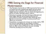 1980 setting the stage for financial modernization