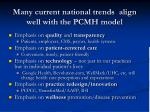 many current national trends align well with the pcmh model