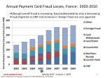 annual payment card fraud losses france 2003 2010