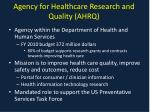 agency for healthcare research and quality ahrq