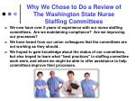 why we chose to do a review of the washington state nurse staffing committees