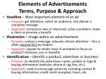 elements of advertisements terms purpose approach