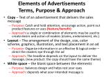elements of advertisements terms purpose approach1