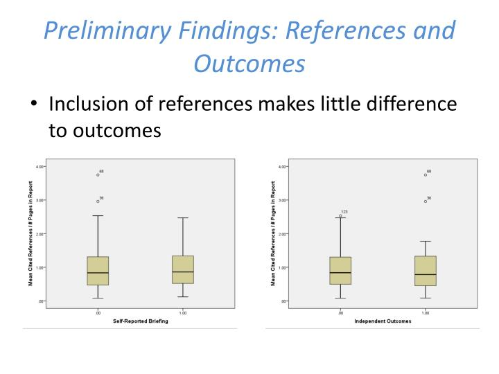 Preliminary Findings: References and Outcomes