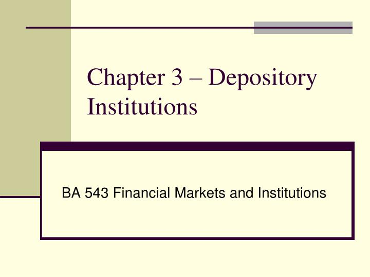 chapter 3 depository institutions n.