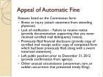 appeal of automatic fine