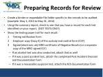 preparing re preparing records for review