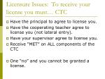 licensure issues to receive your license you must ctc